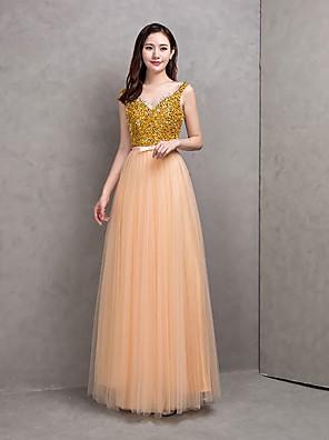 Longo Tule Brilho & Glitter / De Amarrar Vestido de Madrinha - Linha A Decote em U com Faixa / Fita