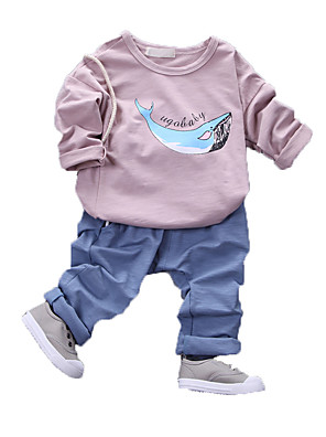 Boy's Casual/Daily Print Clothing Set,Cotton Fall Blue / Green / Pink / Purple