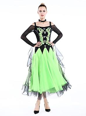 Dança de Salão Roupa Mulheres Actuação Elastano / Poliéster Cristal/Strass 4 Peças Manga Comprida Vestidos / Neckwear / BraceletesDress