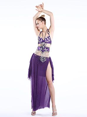 Dança do Ventre Roupa Mulheres Actuação / Treino Chifon / Náilon Chinês / Elastano / Poliéster Enfeites / Botões / Paetês / Faixa/Tiras3