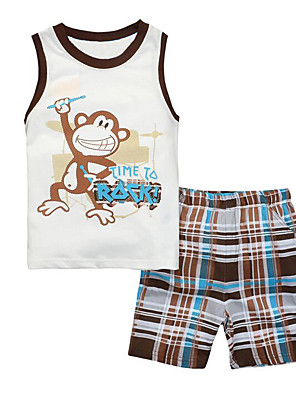 Boy's Casual/Daily Patchwork Clothing Set / Sleepwear,Cotton Summer White