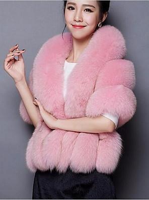 Vrouwen Eenvoudig Winter Cloak / Capes,Casual/Dagelijks V-hals-Mouwloos Roze / Wit / Grijs Effen / Regenboog Medium Imitatiebont