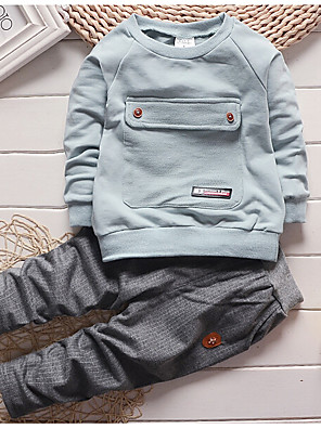 Boy's Casual/Daily Solid Clothing SetCotton Spring / Fall Black / Green / Red / Gray