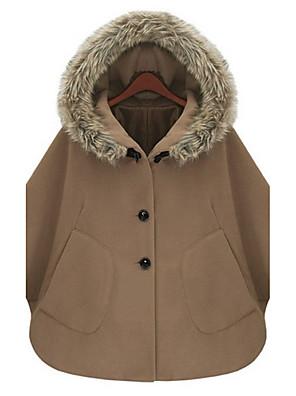 Vrouwen Schattig Winter Cloak / Capes,Casual/Dagelijks Capuchon-Lange mouw Blauw / Bruin Effen Medium Overige