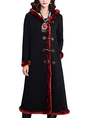 Dámské Patchwork Běžné/Denní / Společenské Vintage / Čínské vzory Kabát-Bavlna Podzim / Zima Kapuce Dlouhý rukáv Černá Tlusté