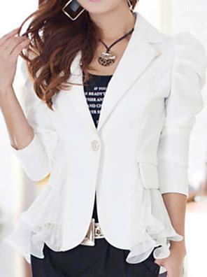 Women's OL Slim Solid Blazer , Casual/Work Peaked Lapel Long Sleeve Ruffle