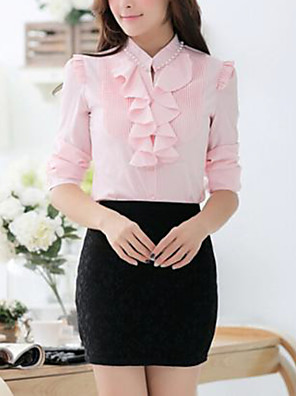 Women's Formal Simple Spring / Fall Shirt,Solid Crew Neck Long Sleeve Blue / Pink / White / Yellow Thin