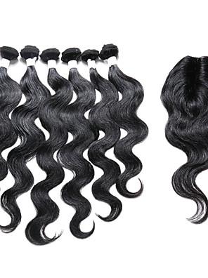7 Dele Krop Bølge Human Hair vævninger Indisk hår Human Hair vævninger Krop Bølge