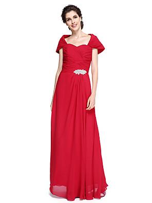 Tubinho Vestido Para Mãe dos Noivos Longo Chiffon - Cruzado / Broche de Cristal / Franzido