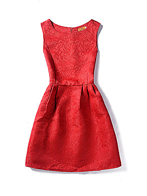 Women's Vintage / Simple Solid A Line Dress,Round Neck Above Knee Cotton