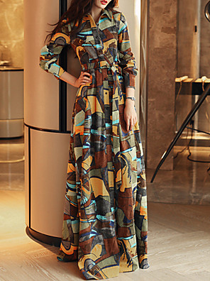 Overhemdkraag - Polyester - Split - Maxi - Vrouwen - Jurk - Lange mouw