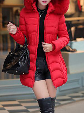 Women's Solid Red / Black / Green / Gray Down Coat , Casual Hooded Long Sleeve