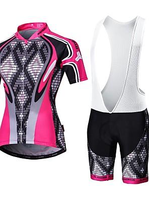 MALCIKLO® חולצת ג'רסי ומכנס קצר ביב לרכיבה לנשים / לגברים שרוול קצר אופנייםנושם / ייבוש מהיר / רוכסן קדמי / לביש / חדירות גבוהה לאוויר