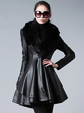 אחיד דש קלאסי סגנון רחוב יום יומי\קז'ואל מעיל פרווה נשים,שחור שרוול ארוך חורף עבה פוליאוריתן