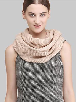 Damer Casual Uld Halstørklæde-Ensfarvet Uendelighedshalstørklæde Pink / Grå / Beige