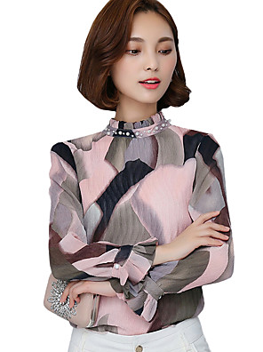 Spring Fall Go out Casual Women's Tops Fashion Wild Pink Printing Stand Collar Long Sleeve Chiffon Blouse