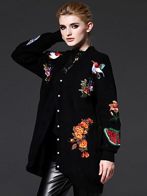 Verfijnd Lang Vest Geborduurd-Zwart V-hals Lange mouw Katoen / Acryl Herfst Medium Inelastisch