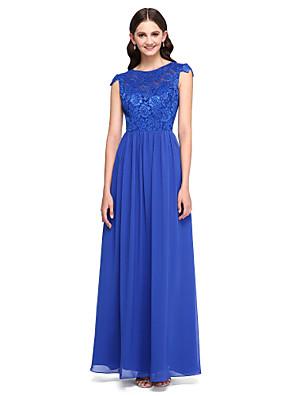 2017 Lanting bride® podlahy Délka šifónové / krajka elegantní družička šaty - a-linie šperk s tlačítky / krajkou