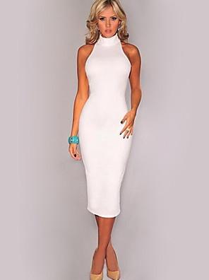 קיץ כותנה לבן ללא שרוולים מידי צווארון עגול אחיד פשוטה יום יומי\קז'ואל שמלה צינור נשים,גיזרה בינונית (אמצע) מיקרו-אלסטי בינוני (מדיום)