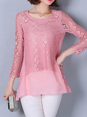 2016 Spring New Women Slim Stitching Lace Chiffon Shirt