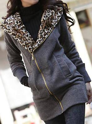 נמר צווארון עגול מעיל נשים,לבן / שחור שרוול ארוך חורף עבה כותנה