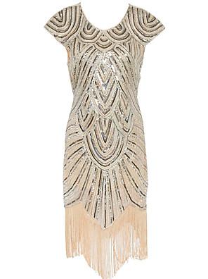 Dámské Vintage Party/Koktejl Pouzdro Šaty Kašmírový vzor,Krátký rukáv Do U Midi Béžová Polyester Všechna období High Rise Lehce elastické