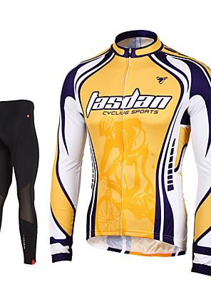 TASDAN® חולצה וטייץ לרכיבה לגברים שרוול ארוך אופנייםנושם / ייבוש מהיר / רוכסן קדמי / 3D לוח / רצועות מחזירי אור / כיס אחורי / תומך זיעה /