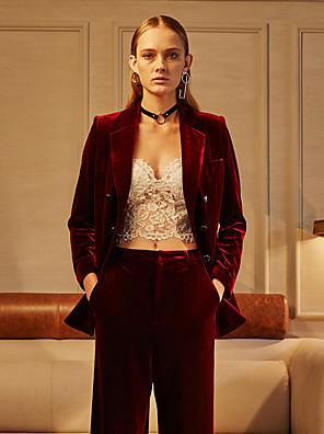 c + zapůsobit ženská práce ročník všechna roční období blazersolid zářez na klopu s dlouhým rukávem červené polyester neprůhledná
