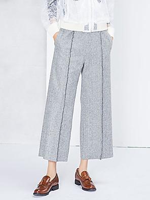 דק - קשיח - רגל רחבה - מכנסי נשים(כותנה)