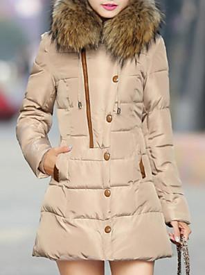 ארוך-פשוטה-שרוול ארוך-מעיל פוך(אקריליק / פוליאסטר / ספנדקס)