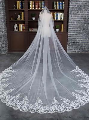 Véus de Noiva Uma Camada Véu Catedral Borda com aplicação de Renda / Borda Recortada Tule / Renda Marfim