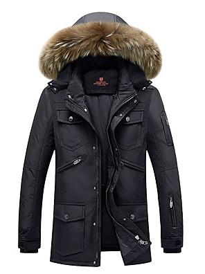 Casual/hétköznapi / Szabadság Vintage / Egyszerű Kabát-Férfi Egyszínű Szokványos Sportos kabátok Poliészter Polipropilén KapucniHosszú