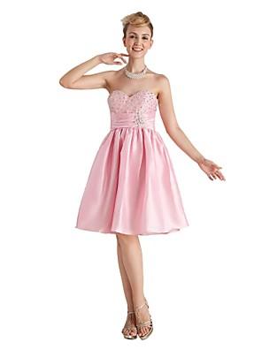 Ke kolenům Taft Šaty pro družičky - Otevřená záda A-Linie Srdce s Korálky