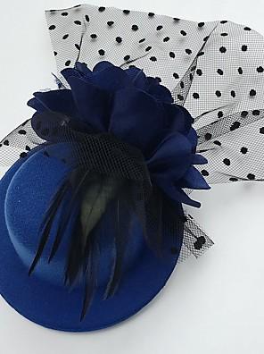 Mulheres Penas / Tule / Tecido Capacete-Casamento / Ocasião Especial / Casual Fascinador / Chapéus 1 Peça