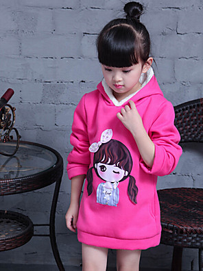 Girl's Casual/Daily Print Hoodie & SweatshirtCotton / Rayon Winter / Spring / Fall Red