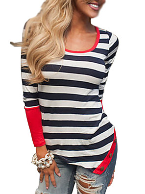 Women's Casual/Daily Simple All Seasons T-shirtStriped Round Neck Long Sleeve White Polyester Medium