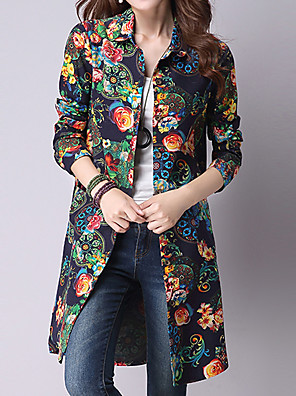 Women's Going out / Casual/Daily Vintage / Street chic Spring / Fall ShirtPrint Shirt Collar Long Sleeve