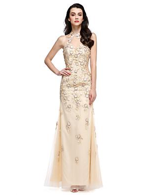 2017 ts couture® formální večerní šaty plášť / sloupec Halter kotník-délka krajka / tyl s nášivky / květ (y)