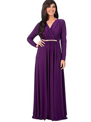Feminino Bainha Vestido,Tamanhos Grandes / Casual Simples / Moda de Rua Sólido Decote V Longo Manga Longa Azul / Branco / Preto / Roxo