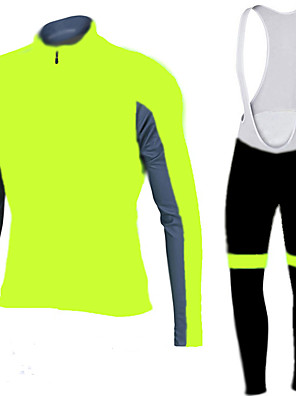 ספורטיבי חולצת ג'רסי וטייץ ביב לרכיבה לגברים שרוול ארוך אופניים נושם / ייבוש מהיר / עיצוב אנטומי / רוכסן קדמי / 3D לוח מדים בסטיםפוליאסטר