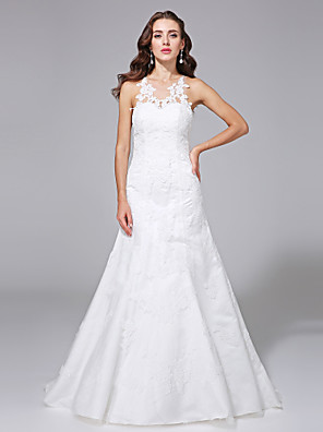 Lanting Bride® A-line Plus Sizes Wedding Dress - Elegant & Luxurious Open Back / Floral Lace Sweep / Brush Train Jewel Lace / Satin with