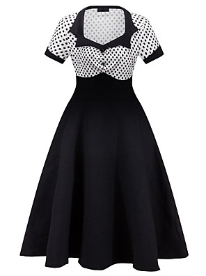 Women's Casual/Daily Vintage Sheath DressPolka Dot V Neck Knee-length Short Sleeve Summer High Rise