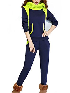 Dames Eenvoudig Herfst / Winter Set Pantalon Suits,Casual/Dagelijks / Grote maten Kleurenblok Capuchon Lange mouw Blauw / ZwartKatoen /