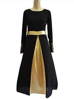 סתיו פוליאסטר שחור / אפור / ירוק שרוול ארוך מקסי צווארון עגול טלאים וינטאג' מידות גדולות שמלה שיפון נשים,גיזרה בינונית (אמצע) מיקרו-אלסטי
