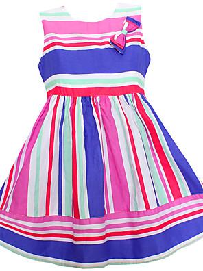 Menina de Vestido,Casual Listrado Algodão Verão / Primavera / Outono Colorido