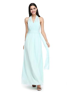 Lanting Bride® Po kotníky Šifón Šaty pro družičky - Elegantní Pouzdrové Ohlávka s Šerpa / Stuha / Sklady