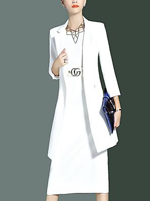אחיד צווארון עגול מתוחכם יום יומי\קז'ואל חליפות נשים,אביב / סתיו שרוול ארוך לבן / שחור / כתום בינוני (מדיום) כותנה