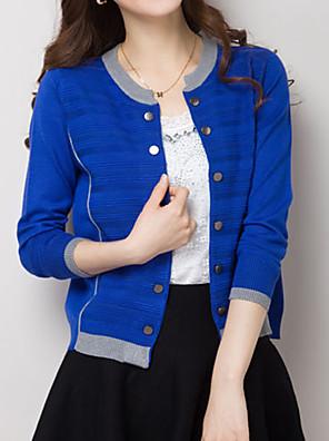 Women's Plus Size Casual Simple Regular CardiganColor Block Round Neck Long Sleeve