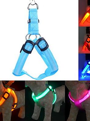 Katte / Hunde Seler LED Lys / Justérbar/Udtrækkelig Solid Rød / Grøn / Blå / Pink / Gul / Orange Nylon