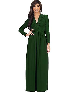 Feminino Bainha Vestido,Casual / Tamanhos Grandes Simples / Moda de Rua Sólido Decote V Longo Manga LongaAzul / Branco / Preto / Verde /